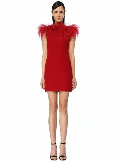 16Arlington 16Arlington Yasmin  Yakası Tüylü Mini Kokteyl Elbise 101517228 Kırmızı